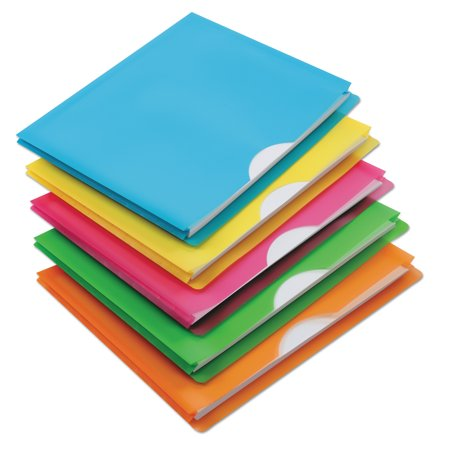 Poly File Jackets (Glow Poly File Jacket, Letter, Polypropylene, Assorted, 5/Pack)