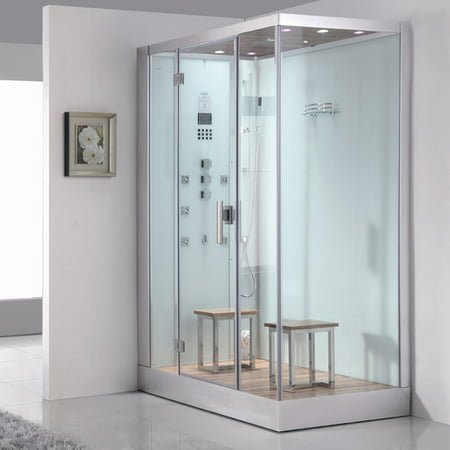 Right Sided Steam Shower with 2-Stool in White