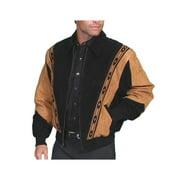 Scully 62-147-M Mens Leather Wear Rodeo Boar Suede Jacket, Black W-Cafe Brown Trim Boar Suede, Medium