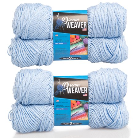 Dream Weaver 4 Pack Solid Color 100% Acrylic Soft Yarn for Knitting Crocheting Medium Worsted #4 - Dream Weavers