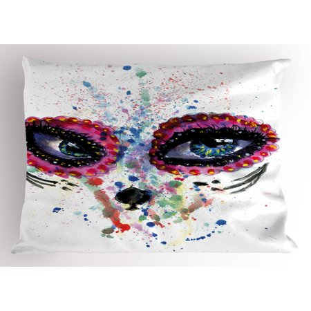 Sugar Skull Pillow Sham Spooky Big Eyes Cat Face Girl Portrait Artistic Ceremonial Celebration Print, Decorative Standard Size Printed Pillowcase, 26 X 20 Inches, Multicolor, by Ambesonne (Sugar Skull Cat)