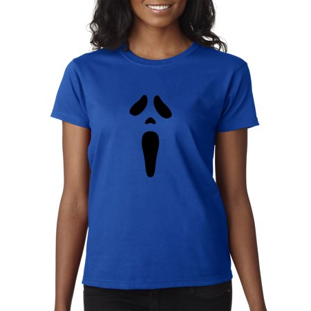 Trendy USA 983 - Women's T-Shirt Ghost Face Scream Halloween Spooky Scary XL Royal Blue - Halloween Usa Promo