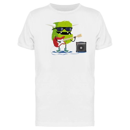 Green Monster Playing Guitar Tee Men's -Image by