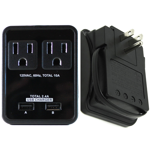 RND Compact Power Station 2.4 Amp Dual USB Ports, 2 AC Outlet Wall Charger with an attached 7 inch Micro USB cable for Samsung Galaxy, Tablets& More as well as USB Ports for iPhones, iPads(black)