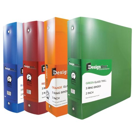 JAM Paper Assorted 2 Inch Width Plastic 3 Ring Binders, Red, Green, Blue & Orange, 4/pack (3 Ring Binder Zipper 2 Inch)