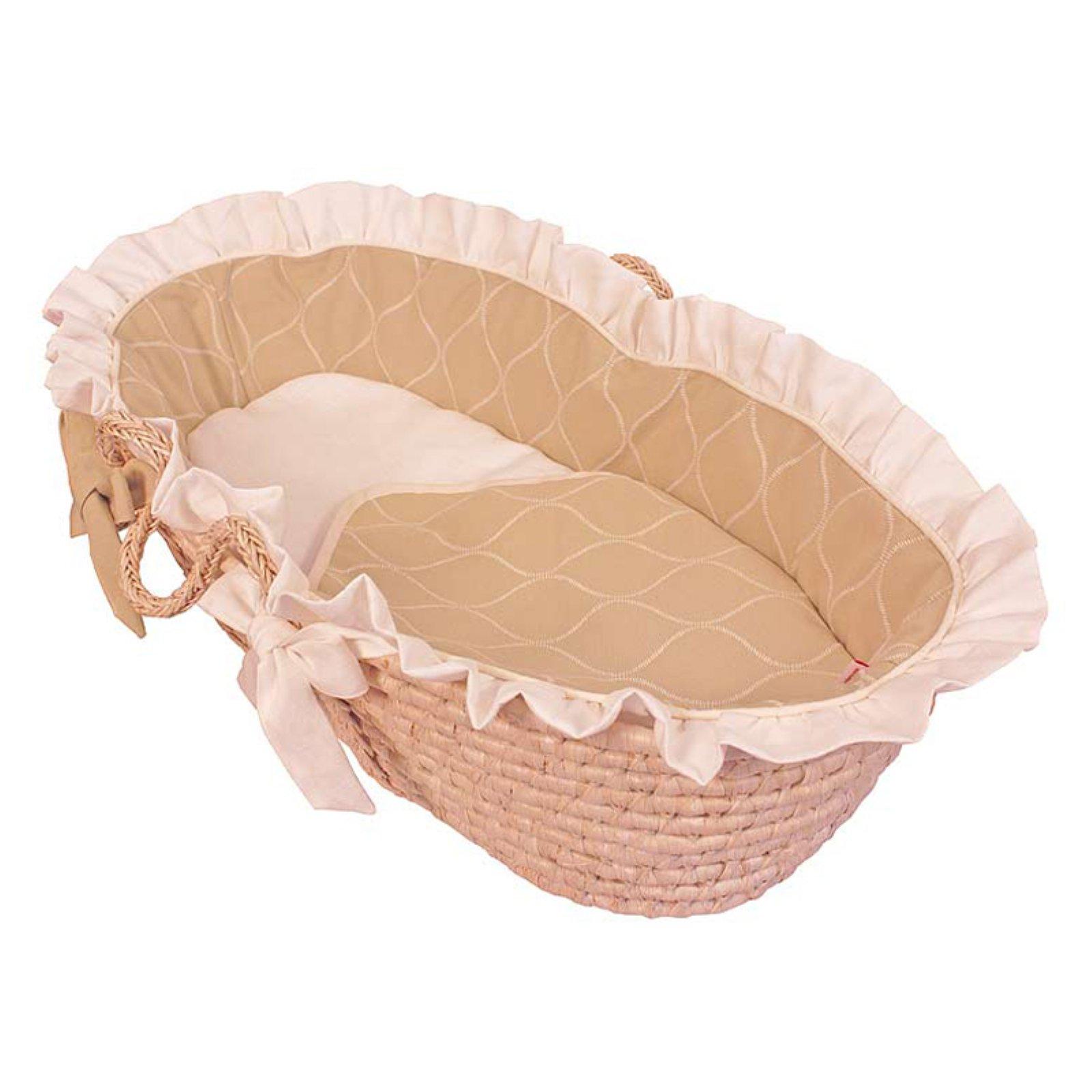 Hoohobbers Ecru Moses Basket - Ruffled
