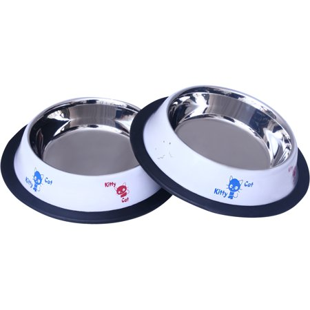 2 Pak Premium Painted Cat Dishes, Rust Proof Stainless Steel Bowl with Non-Skid Natural Rubber Base That Won't - Painted Bowls