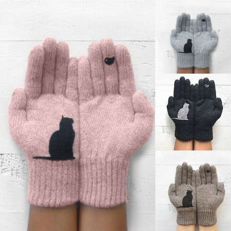 Women Winter Warm Wool Gloves Cute Cat Knitted Wrist Gloves Female Mittens Recycled Wool Mittens