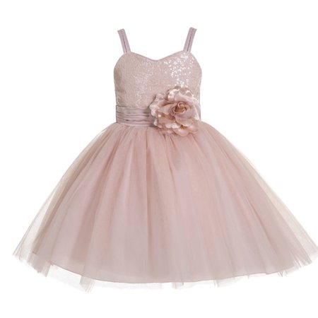 Ekidsbridal Spaghetti-Straps Sequin Tulle Flower Girl Dress Special Occasion Dresses Toddler Girl Dresses Easter Summer Dresses Birthday Girl Dress Junior Bridesmaid Dress Pageant Gown B-1508NF - Special Occasion Flower Girl Dresses