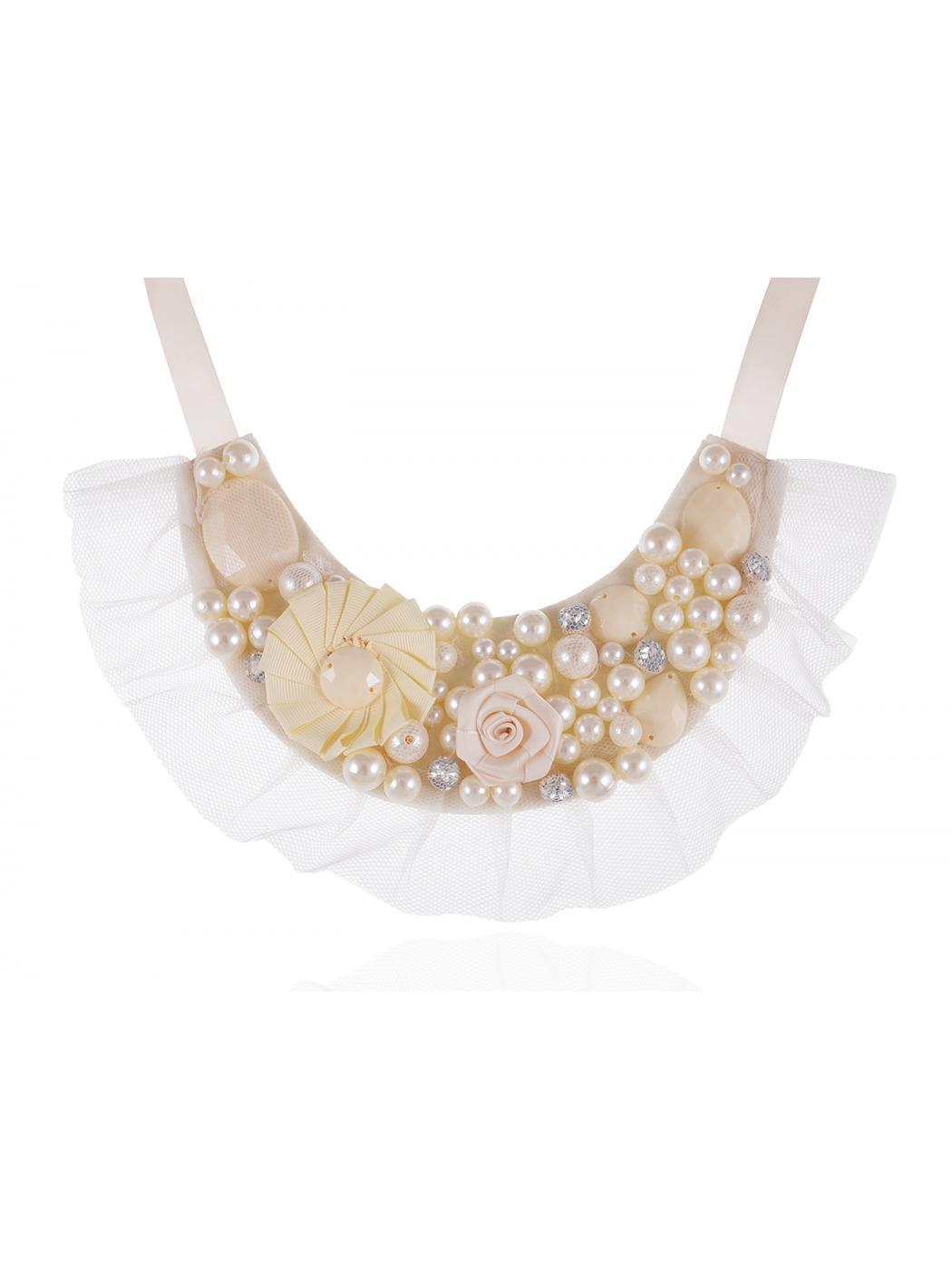 Bridal Wedding Ivory White Cream Beaded Ribbon Floral Fabric Decor Bib Necklace by