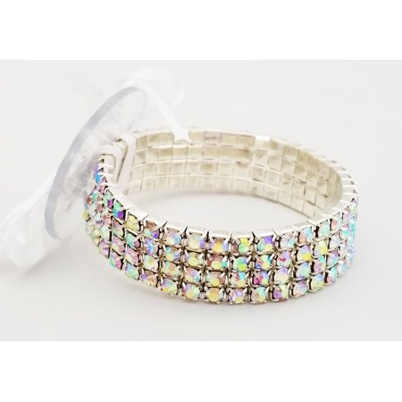 Swarovski Corsage (Floral Corsage Bracelet in Iridescent, Rhinestone Princess Collection)