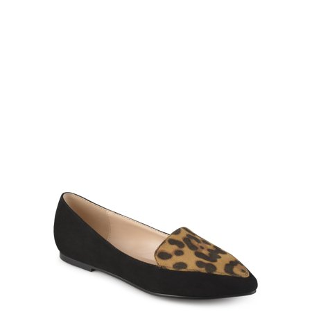 Leopard Loafers (Women's Pointed Toe Faux Suede Loafer Flats )