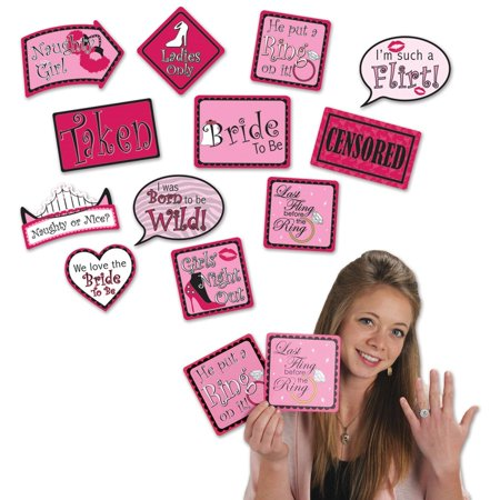 Club Pack of 144 Bachelorette Photo Fun Pink Sign Cutout Party Favors 8