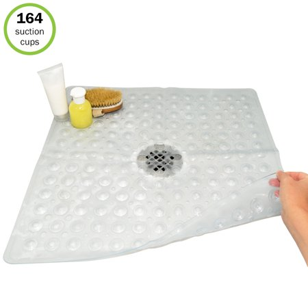 Evelots Square Shower Mat-Large-Drain Hole-Non Slip-Super Thick-164 Suction (Best Bath Mats For Elderly)