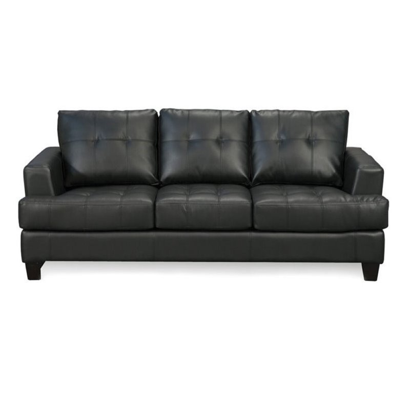 black leather couches. unique black bowery hill contemporary tufted leather sofa in black for couches l