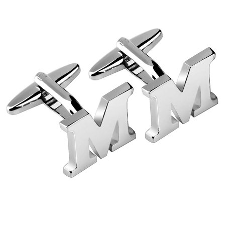 Men's Initial M Alphabet Letter Silver Copper Cufflinks Fathers Day Wedding Birthday Party Cuff Links