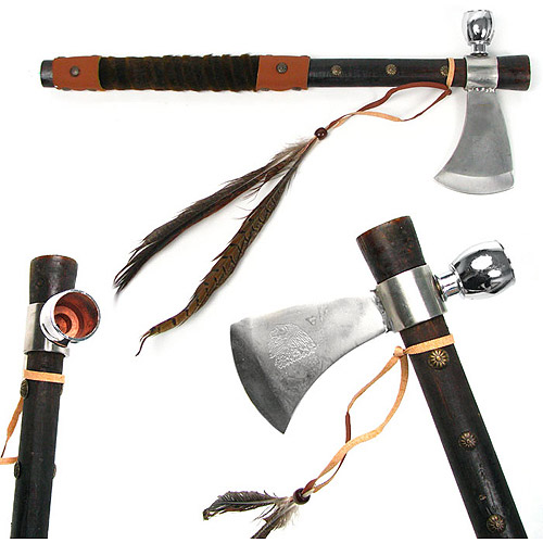"Whetstone 19"" Tomahawk Peace Pipe with Wood Handle, Various Colors"