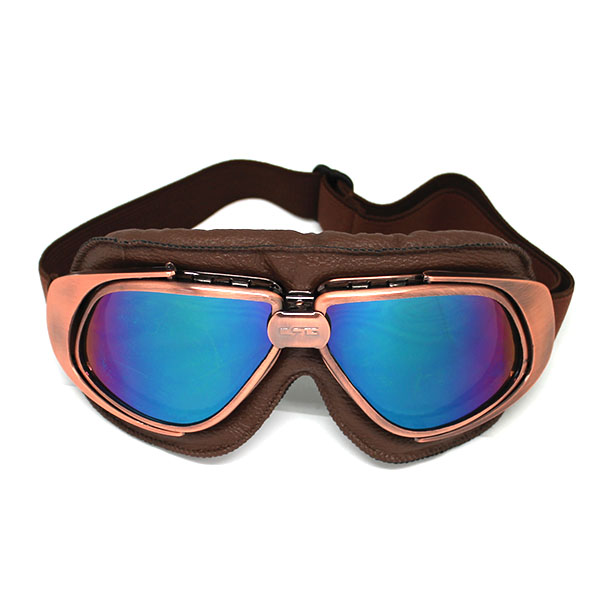 Motorcycle Goggles Scooter Mopeds Half Helmet Vintage Vespa Pilot Aviator Style,Bronze Frame Tinted Lens