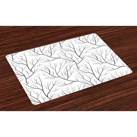 Winter Placemats Set of 4 Winter Tree without Leaves Nature Theme Delicate Branches Pattern Japanese Style, Washable Fabric Place Mats for Dining Room Kitchen Table Decor,White Black, by Ambesonne ()