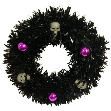 Halloween Black Tinsel Wreath with Skulls and Purple Ornaments 14 Inch Diameter