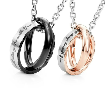 "Amazing His & Hers Couples ""I Will Always Be with You"" Rings Pendant Necklace 19"" & 21"" Chain"