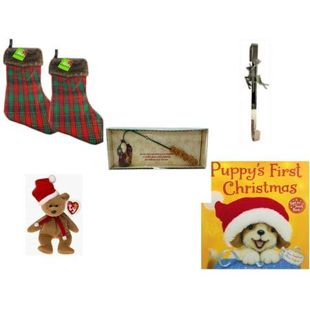 Debbie Mumm Bird - Christmas Fun Gift Bundle [5 Piece] - Be Jolly Faux Fur Plaid Stocking 20