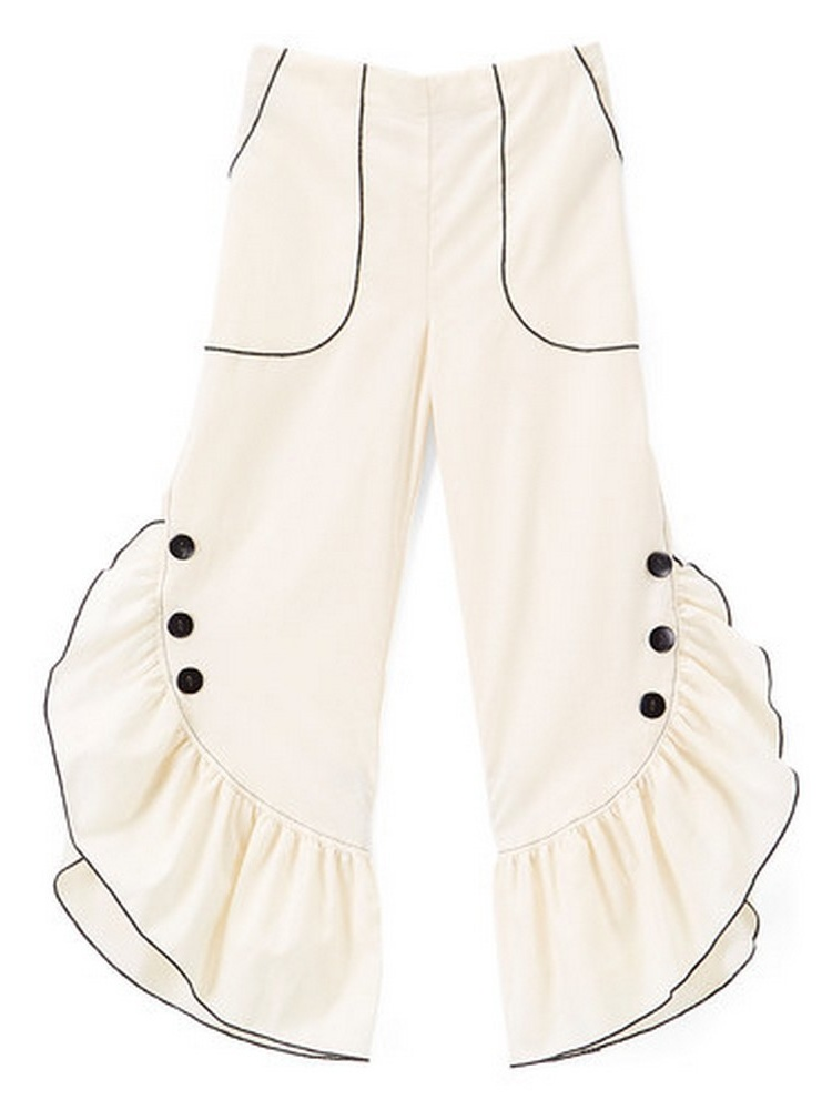 Girls Ivory Black Ruffled Trim Button Detail Cotton Pants