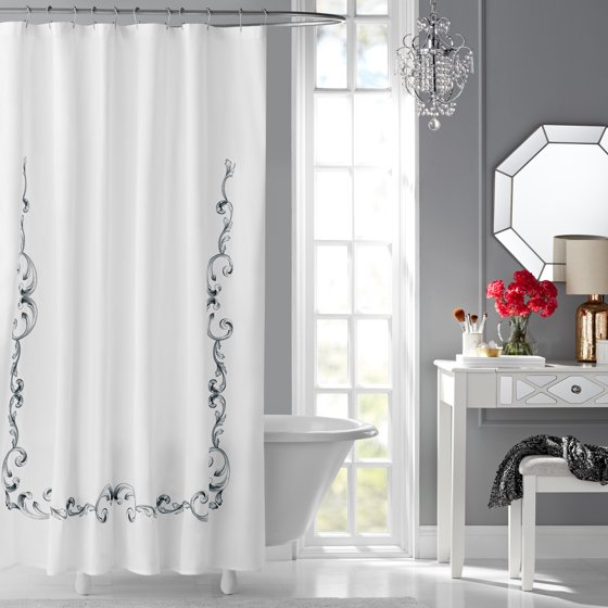 Hotel Style Vivien Embroidered Fabric Shower Curtain - Walmart.com