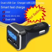 New Dual USB Car Cigarette Charger with LED Display Volt Amp Meter DC 4.8A 5V