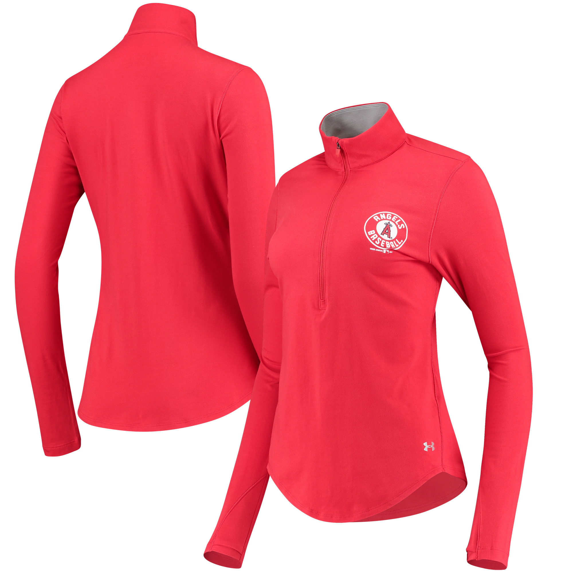 Los Angeles Angels Under Armour Women's Charged Cotton Half-Zip Pullover Jacket - Red