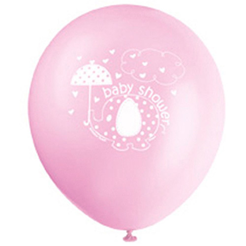 Elephant Baby Shower Latex Balloons, 12 in, Pink, 8ct
