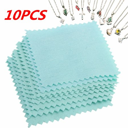 10Pcs Silver Jewelry Polishing Cloth Jewelry Cleaning for Platinum Sterling Silver 8×8cm ()