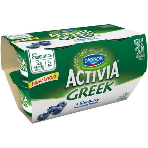 Activia Garden Blueberry Greek Nonfat Yogurt, 5.3 oz, 4 ct