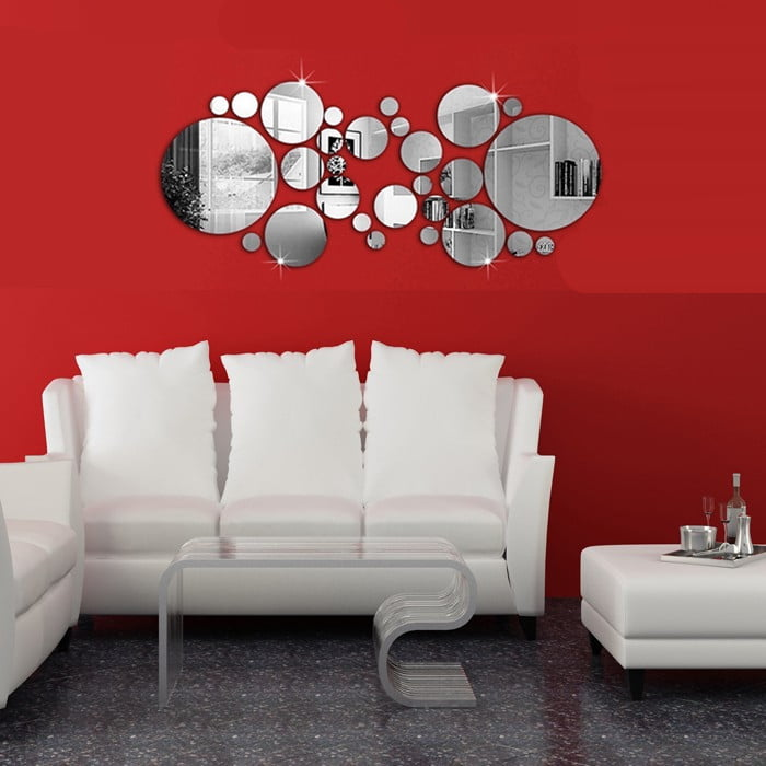 28pcs 3D Mirror Decals Wall Stickers Home DIY Wall Panels living Room Silver