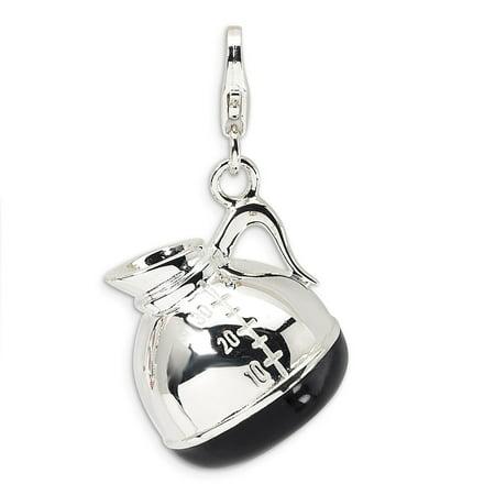 Amore La Vita Sterling Silver 3-D Enameled Coffee Pot Click-On Lobster Clasp Charm Pendant (Pendant Maker)
