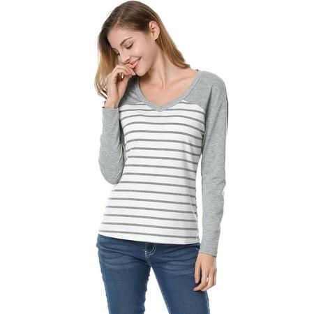 Allegra K Rayures col V Dame Couleur Contraste T-Shirt - image 2 de 7