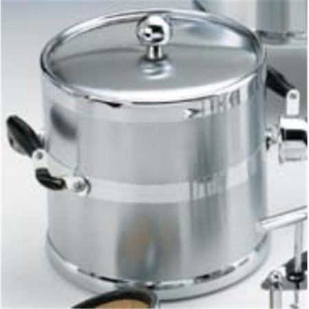 Heritage Chrome 2 Handle - Brushed Chrome 3 Quart. Metal Ice Bucket with Wood Side Handles