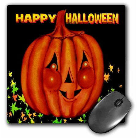 3dRose Happy Halloween Orange Pumpkin Greeting, cheeky Jackolatern with black background and fall leaves, Mouse Pad, 8 by 8 inches](Happy Halloween Backgrounds Desktop)