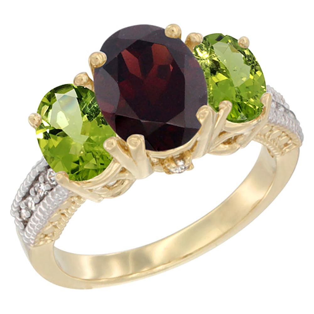 14K Yellow Gold Diamond Natural Garnet Ring 3-Stone Oval 8x6mm with Peridot, sizes5-10