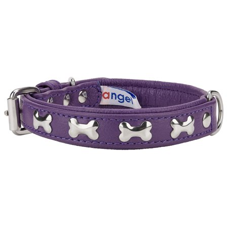 Angel Rotterdam Bones Orchid Purple Leather Dog Collar