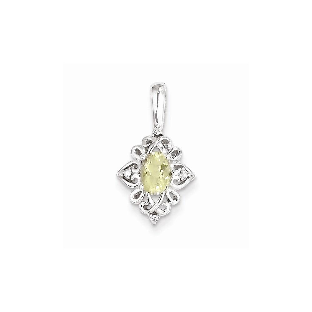 Sterling Silver Lemon Quartz Diamond Pendant. Carat Wt- 0.02ct. Gem Wt- 0.44ct