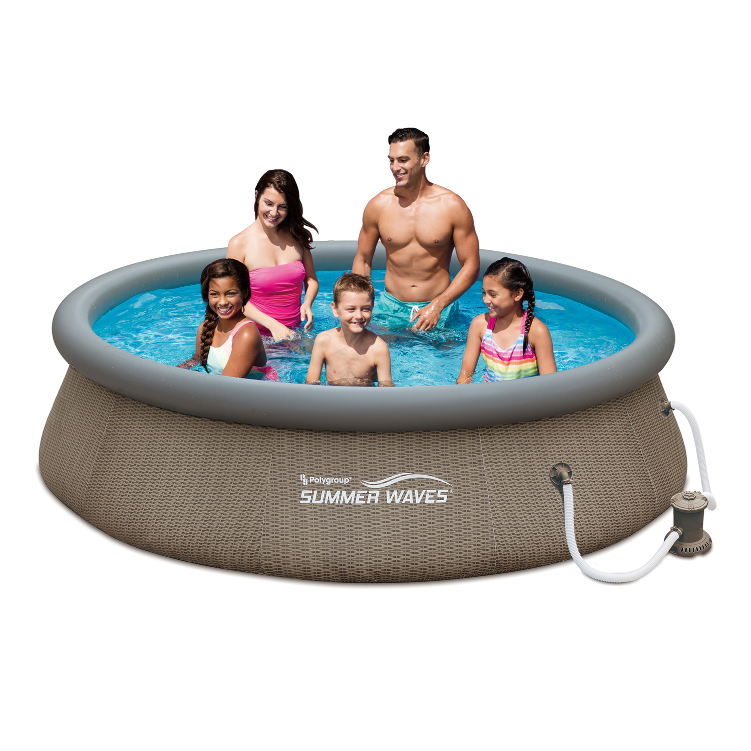 "Summer Waves 10' x 30"" Quick Set Above Ground Swimming Pool with Basket Weave Wicker Print And Filter Pump System"