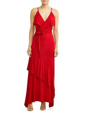 db8e0d95c5e2 Product Image Faux Wrap Front Maxi Dress Women s