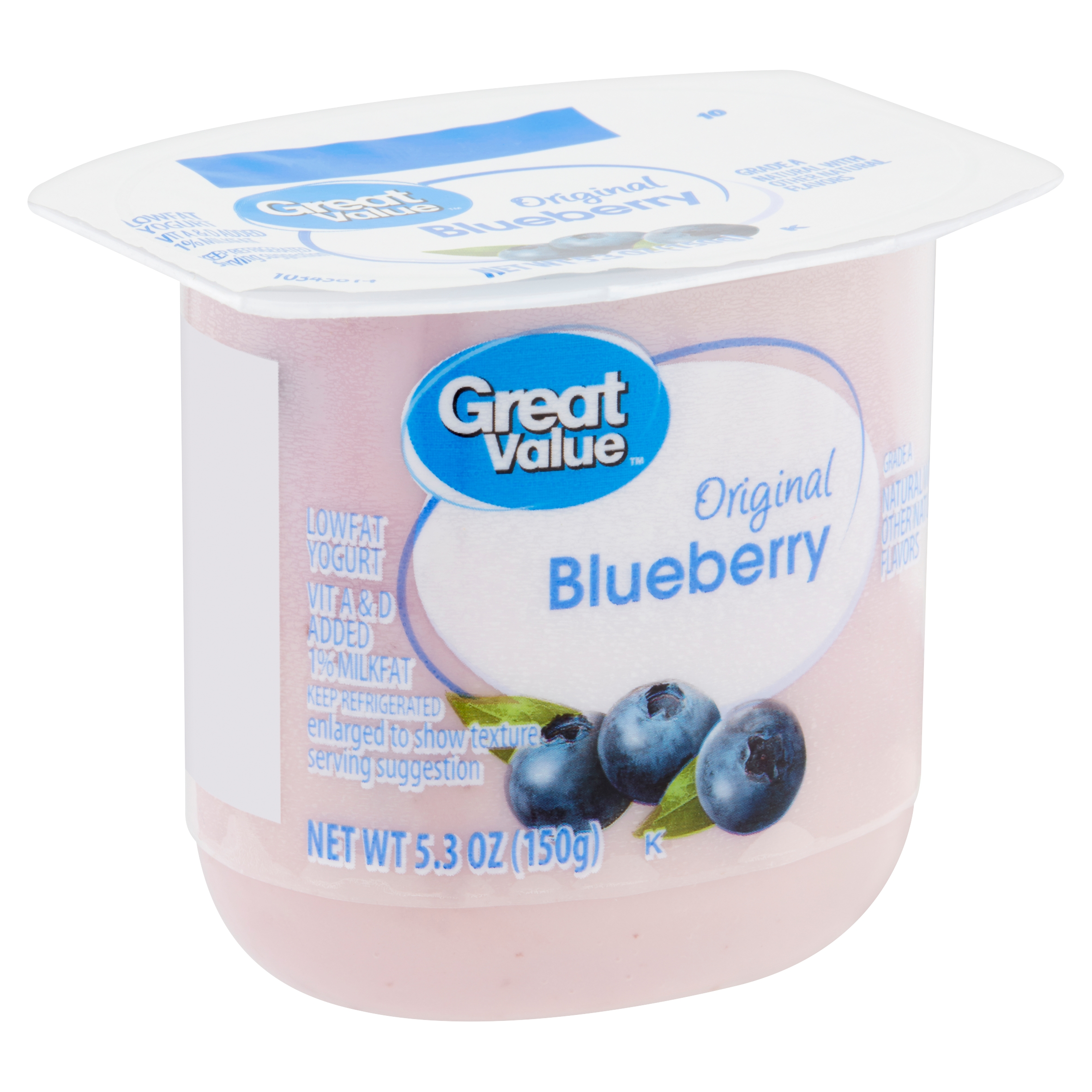 Great Value Original Blueberry Lowfat Yogurt, 5.3 oz
