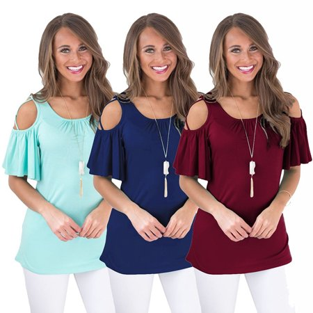Women's O-neck Strappy Cold Shoulder Shirt Casual Short Sleeve Pleated Blouse Loose Cotton Tops