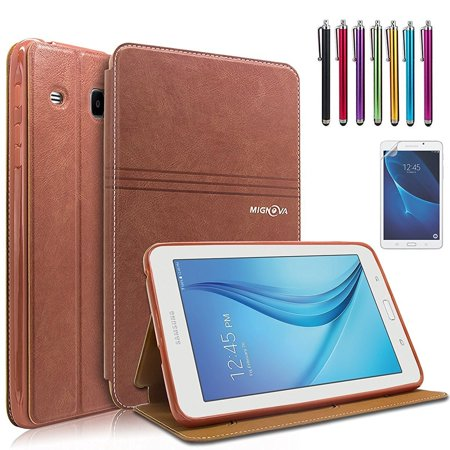 Mignova Samsung Galaxy Tab E Lite 7.0 Case - Folio Premium Leather Case for Samsung Galaxy Tab E Lite 7.0 & Tab 3 Lite 7.0 Tablet + Screen Protector Film and Stylus Pen (Samsung Galaxy Tab 3 7-0 Wont Turn On)