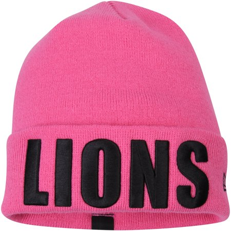 Detroit Lions New Era Women's Team Frost Cuffed Knit Hat - Pink - OSFA