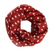 Peach Couture Vibrant Polka Dot Print Infinity loop Circle Scarf Red
