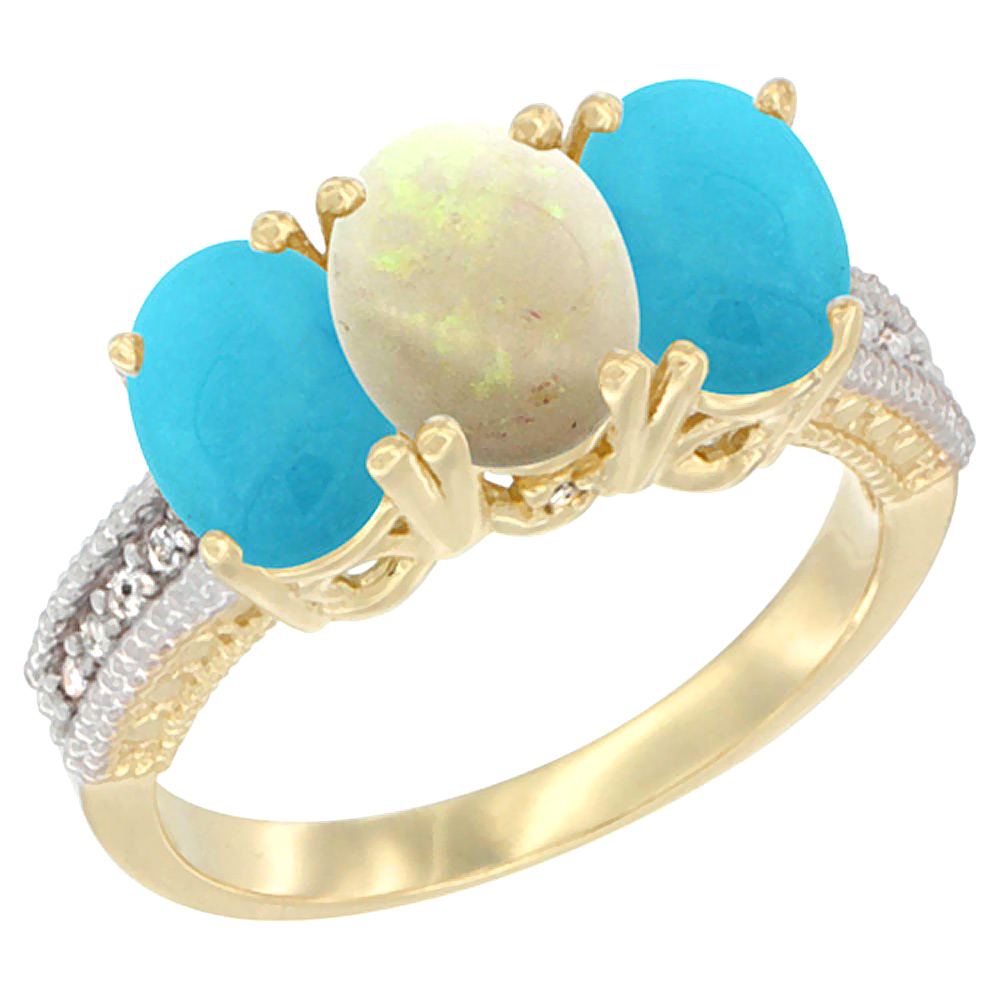 10K Yellow Gold Diamond Natural Opal & Turquoise Ring 3-Stone 7x5 mm Oval, sizes 5 10 by WorldJewels