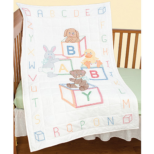 "Jack Dempsey Baby Blocks Stamped White Quilt Crib Top, 40"" x 60"""